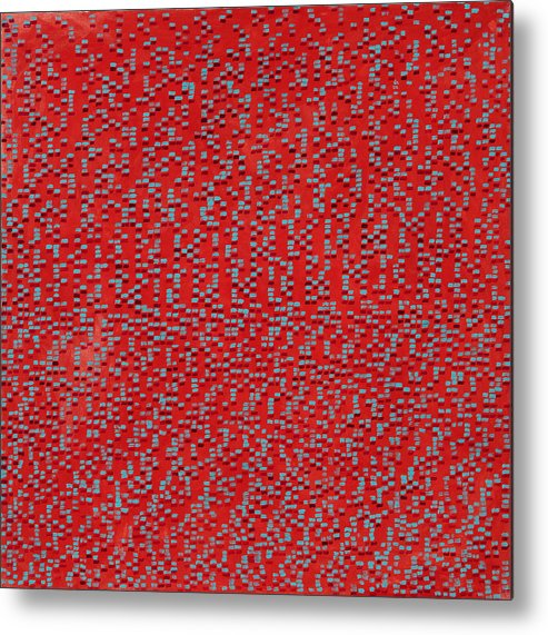Abstract Red Pattern Turquoise Metal Print featuring the painting Heart And Soul by Joan De Bot