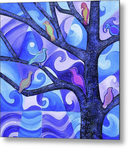 Tree Metal Print featuring the painting 7 Birds On A Tree by Stephen Humphries