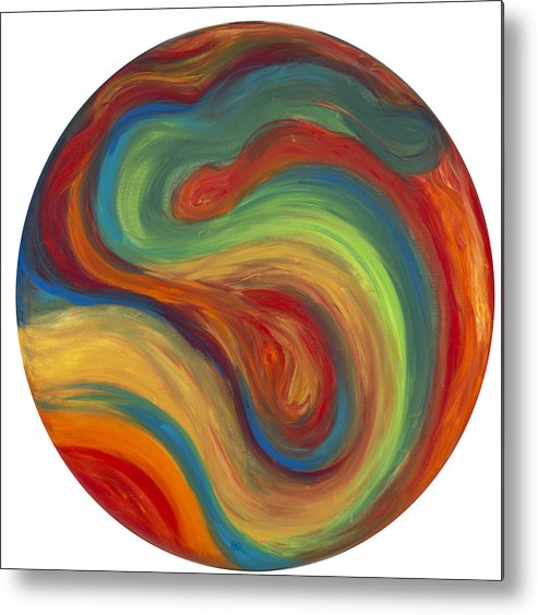 Acrylic Abstract Canvas Metal Print featuring the painting 70s Influence by Patty Vicknair