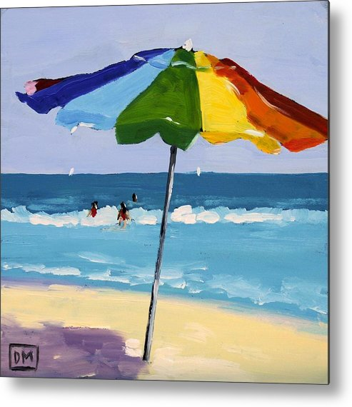 Beach Metal Print featuring the painting A Colorful Spot by Debbie Miller
