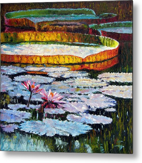 Water Lilies Metal Print featuring the painting Afternoon Shadows by John Lautermilch
