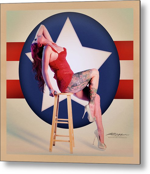 Pinup Metal Print featuring the photograph Air Force Pinup With Calypso Jean by Stephen Cruz