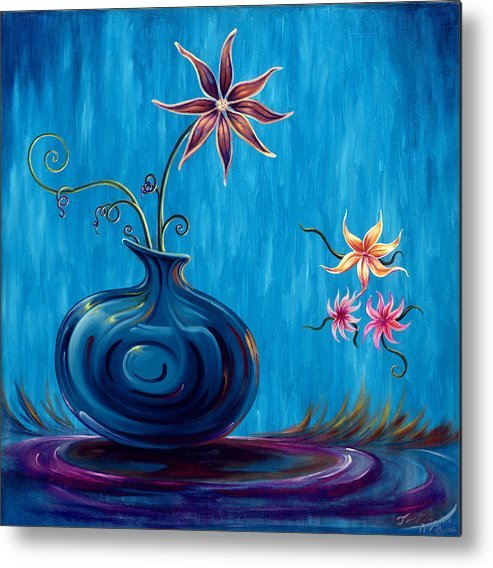 Fantasy Floral Scape Metal Print featuring the painting Aloha Rain by Jennifer McDuffie