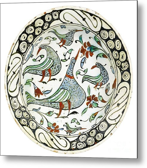 An Iznik Polychrome Pottery Dish With Birds Metal Print featuring the painting An Iznik Polychrome Pottery Dish With Birds by Celestial Images