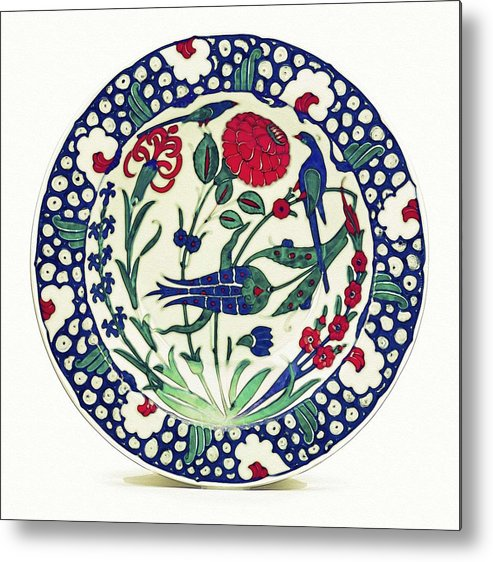 Pottery Metal Print featuring the painting An Ottoman Iznik Style Floral Design Pottery Polychrome, By Adam Asar, No 1a by Adam Asar
