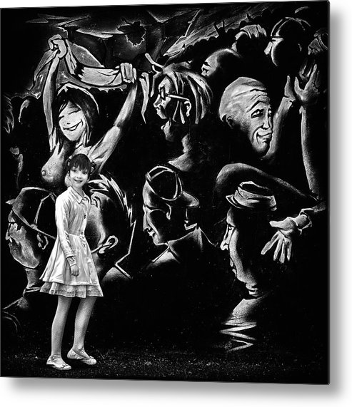 Girl Metal Print featuring the photograph Angel And The Social Media Jungle by Piet Flour