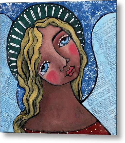Angel Metal Print featuring the painting Angel With Green Halo by Julie-ann Bowden
