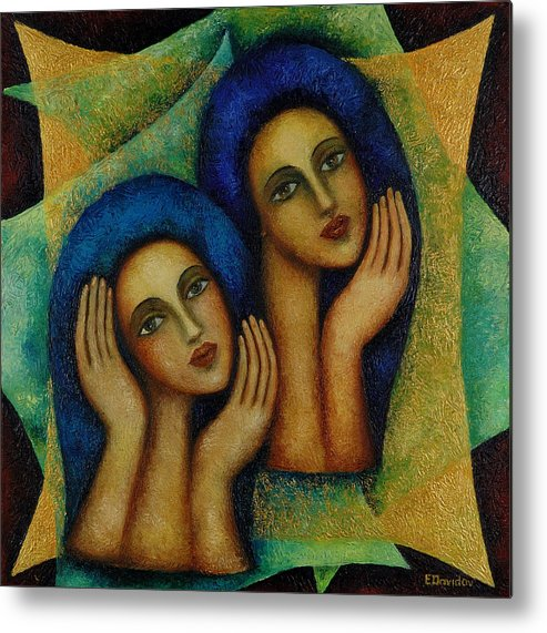 Angels Metal Print featuring the painting Angels In Blue. by Evgenia Davidov