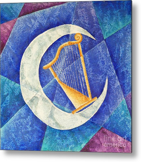 Music Metal Print featuring the painting Arpa by Son Of the Moon