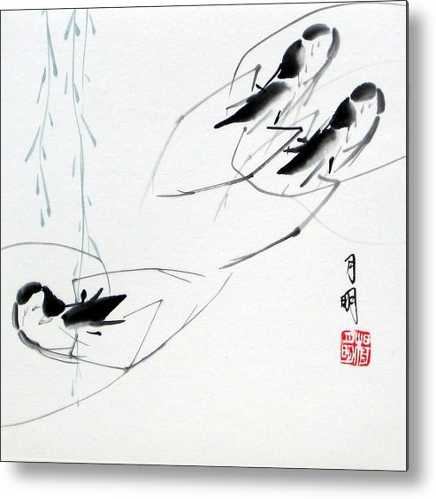 Chinese Painting Metal Print featuring the painting At Leisure by Ming Yeung