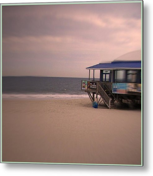 My Original Photo Of Serene Spot At Seaside Heights Beach. Seascape Depicting Calm Metal Print featuring the photograph At The Beach by Desline Vitto