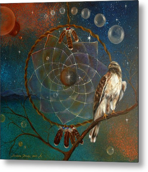 Red Tailed Hawk Metal Print featuring the painting Awakening Visionary Power by Sundara Fawn