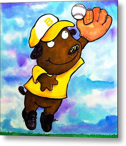 Dog Metal Print featuring the painting Baseball Dog 4 by Scott Nelson