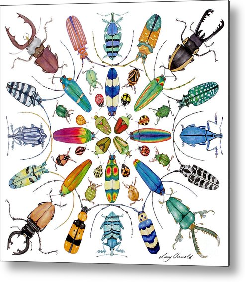Insects Metal Print featuring the painting Beautiful Beetles by Lucy Arnold