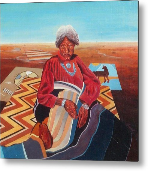 Old Indian Woman Metal Print featuring the painting Blanket Weaver by Don Trout