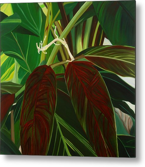 Floral Metal Print featuring the painting Bleeding Heart by Sunhee Kim Jung