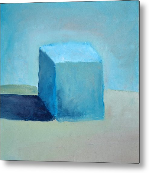 Blue Metal Print featuring the painting Blue Cube Still Life by Michelle Calkins