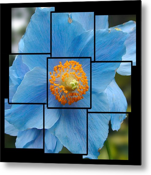 Blue Metal Print featuring the sculpture Blue Flower Photo Sculpture Butchart Gardens Victoria Bc Canada by Michael Bessler
