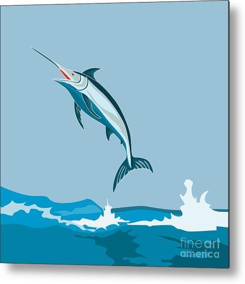 Fish Metal Print featuring the digital art Blue Marlin by Aloysius Patrimonio