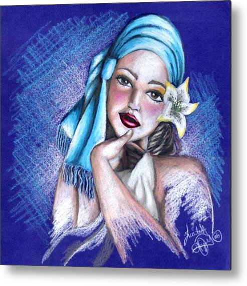 Portrait Metal Print featuring the drawing Blues by Scarlett Royal