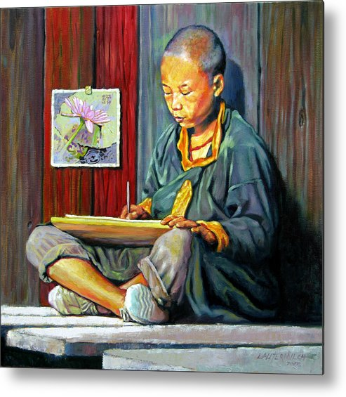 Chinese Boy Metal Print featuring the painting Boy Painting Lilies by John Lautermilch