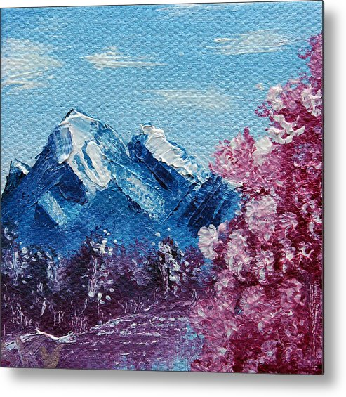 Wonderous Metal Print featuring the painting Bright Blue Mountains by Jera Sky