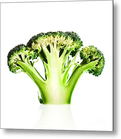 Broccoli Metal Print featuring the photograph Broccoli Cutaway On White by Johan Swanepoel