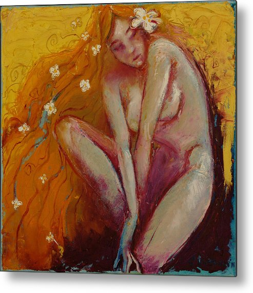 Nude Metal Print featuring the painting Candide by Glen Viljoen