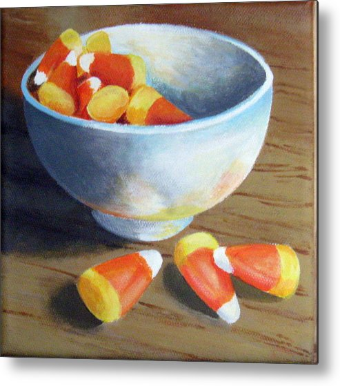 Candy Corn Metal Print featuring the painting Candy Corn by Sharon Marcella Marston