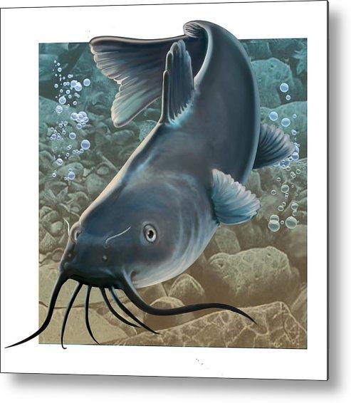 Fish Metal Print featuring the digital art Catfish by Valer Ian