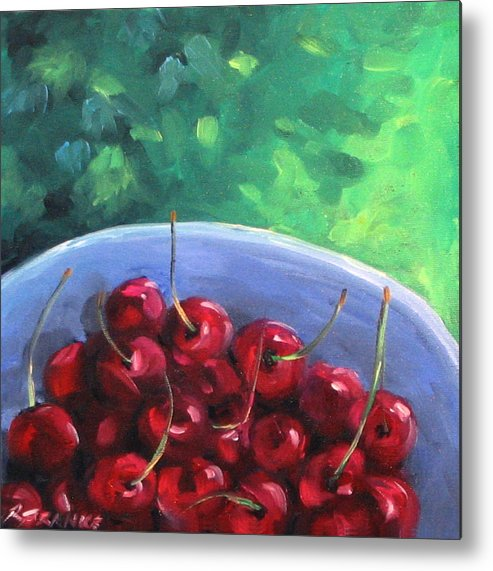 Art Metal Print featuring the painting Cherries On A Blue Plate by Richard T Pranke