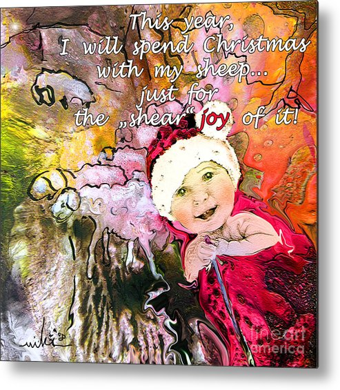 Acrylics Metal Print featuring the painting Christmas With My Sheep by Miki De Goodaboom
