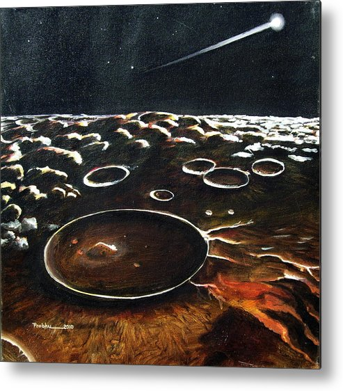 Landscape Metal Print featuring the painting Comet's Light by Prabhu Dhok