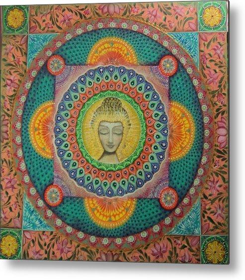 Mandala Metal Print featuring the painting Coneccion by Marina Sanchez