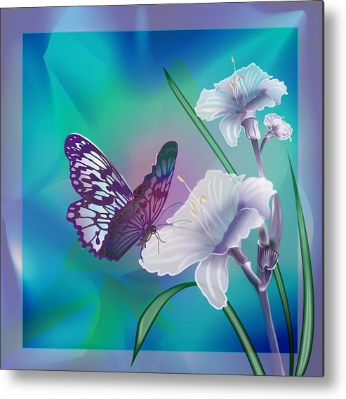 Contemporary Art By Gina Femrite Metal Print featuring the painting Contemporary Painting Of A Dancing Butterfly by Regina Femrite