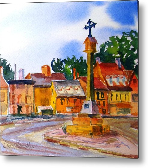 Watercolor Metal Print featuring the painting Cotswolds Town Center by Larry Hamilton
