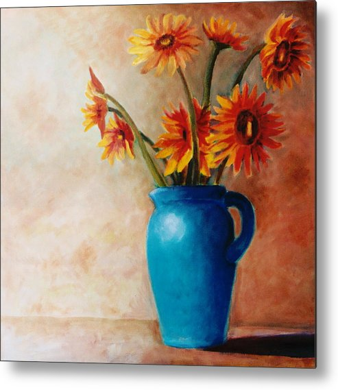 Daisies Metal Print featuring the painting Daisies And Blue by Jun Jamosmos