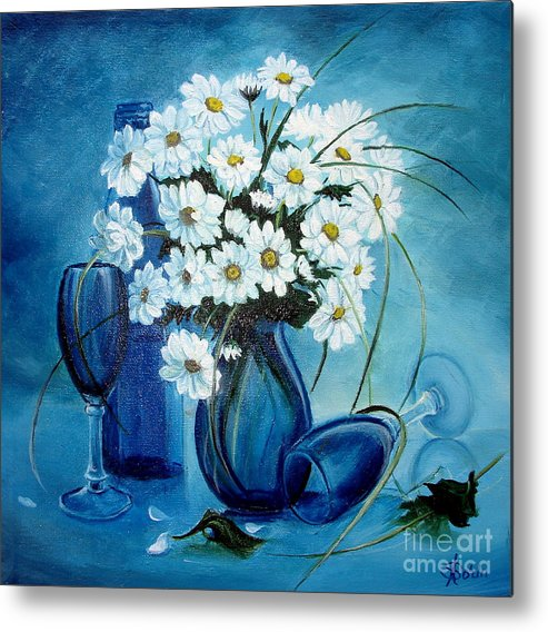 Daisies Metal Print featuring the painting Daisies by Sorin Apostolescu