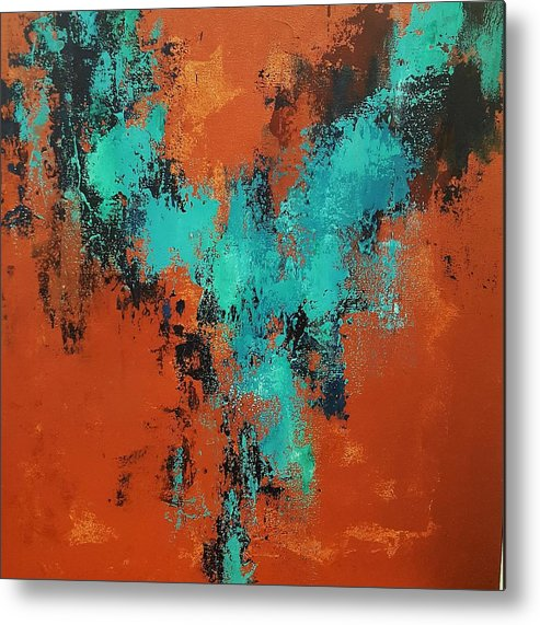 Abstract Metal Print featuring the painting Dance In The Abyss by Lauren Combs