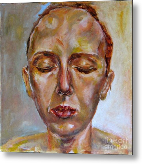 Portrait Metal Print featuring the painting Daydreaming by Iglika Milcheva-Godfrey