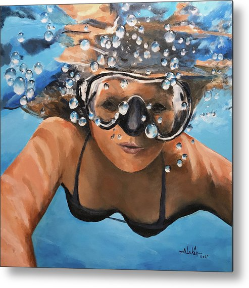 Diving Metal Print featuring the painting Diving by Alan Lakin