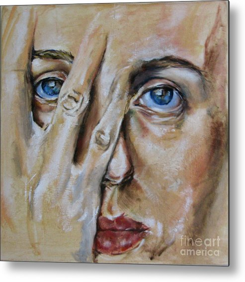 Postrait Metal Print featuring the painting Don't Hide by Iglika Milcheva-Godfrey