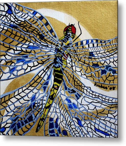 Dragonfly Metal Print featuring the painting Dragonfly On Gold Scarf by Susan Kubes