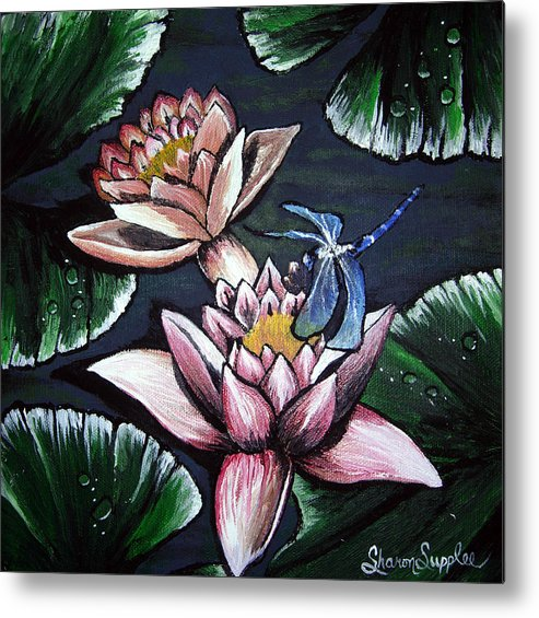 Dragonfly Metal Print featuring the painting Dragonfly Pond by Sharon Supplee