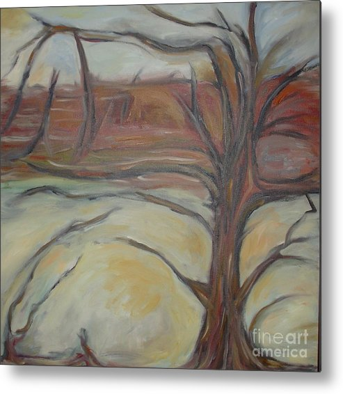 Woods Tree Abstract Original Painting Winter Metal Print featuring the painting Drift by Leila Atkinson