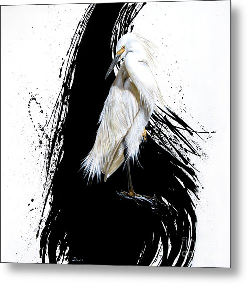 Sandi Baker Metal Print featuring the painting Egret by Sandi Baker