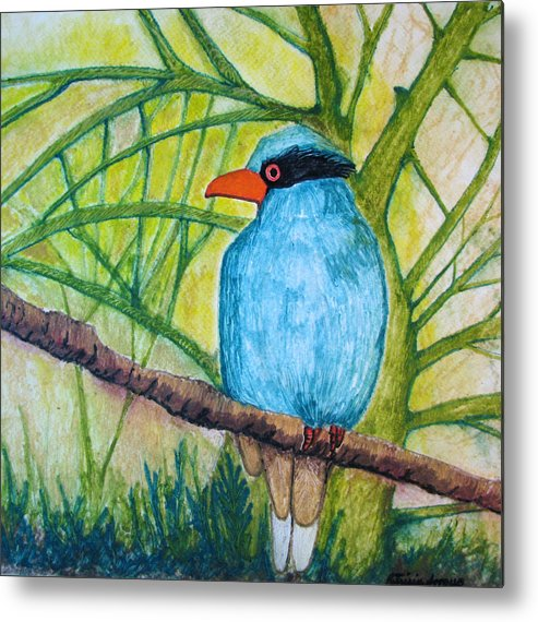 Nature Metal Print featuring the painting El Pajaro Del Agua Azul by Patricia Arroyo