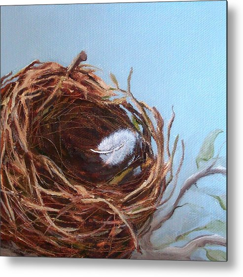 Empty Bird Nest Metal Print featuring the painting Empty Nest by Irene Corey