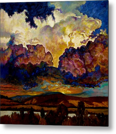 Sunset Metal Print featuring the painting Evening Clouds Over The Valley by John Lautermilch
