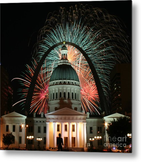 In Focus Metal Print featuring the photograph Fair St Louis Fireworks by William Shermer